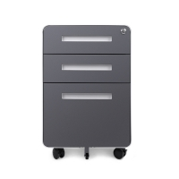 Quality Round Edge 3 Drawer Metal Storage Grey Movable Cabinet for sale