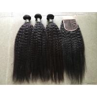 Quality Grade 8A Peruvian Curly Hair Extensions Kinky Straight With 4x4 Closure for sale