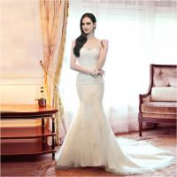 China Girls sexy Mermaid Backless Sweetheart Lace Wedding Dress with chapel train on sale
