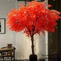 China Red Leaves Indoor Vase Planting Artificial Maple Tree Acid And Alkali Resistant for sale