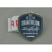 China Kids Triathlon Enamel Medal Zinc Alloy With Nickel Plating and Ribbon on sale
