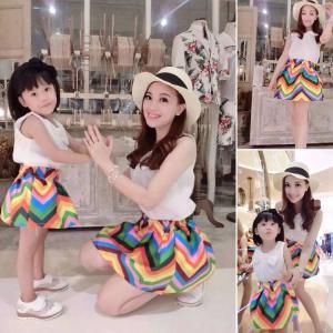 2016 Fashion Parent-child outfits Summer White Top+Cute Rainbow Skirt 2 PCS