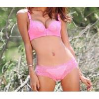Quality Pink New Style Eco-Friendly Knot Customized OEM Matching Bra And Underwear Sets For Women for sale
