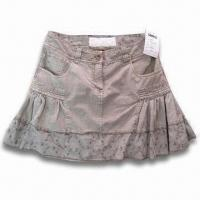 Quality Women's Skirt with Enzyme Wash and Embroidery, Made of 100% Cotton for sale