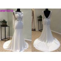 Buy Manual Nail Bead Fitted A Line Wedding Dress / Long A Line Tulle Wedding Dress at wholesale prices