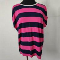 Navy And Hot Pink Striped T Shirt Womens Casual Wear For Summer Season