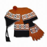 Quality Acrylic Knitted Jacquard Hat, Scarf, Gloves and Headband Set for sale
