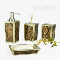 Quality White and Brown High - End And Luxury Broken Glasses Polyresin Bathroom Set (WBP0837B) for sale
