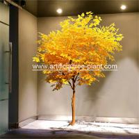 Plastic Plant Yellow Leaves Artificial Evergreen Trees / Restaurant Decor Fake for sale