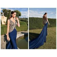 Quality Blue Vintage Womens Evening Dresses / Long Mermaid Evening Gowns for sale