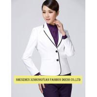 Quality Cotton Corporate Office Uniforms With Womens White Blazer Jacket Ladies Uniform Shirts for sale