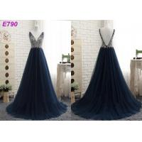 Buy V neckline backless straps beading A line dark bule tulle evening dress at wholesale prices