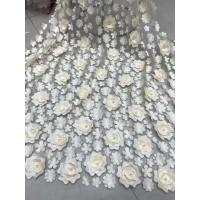 Quality 3D Embroidered Flower Beaded Wedding Gown Lace Fabric Anti-static Fashion for sale