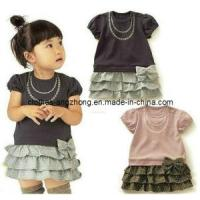 China Baby Girls Sleeve Cake Dress Bow Dots Cotton Dress Children Summer Clothing on sale