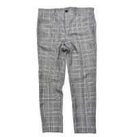 China Light Gray CHECK Mens Slim Fit Suit Trousers Office Business Classic on sale