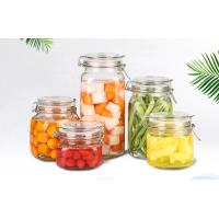 Quality Round Transparent Glass Food Storage Canisters With Silicon Lid Eco Friendly for sale