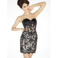 Quality Mini Black Strapless Mermaid Short Evening Party Dresses Sweetheart for sale