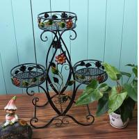 Quality Decorative Three Tier Plant Stand Outdoor , Heavy Duty Wire Plant Stand Garden Furniture Ornaments for sale