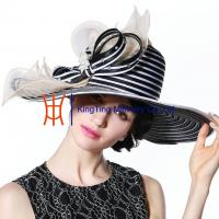 China Wide Brim Black White Strips Women Church Party Fabric Cloth Hats on sale