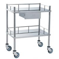 Movable Medical Clinical Trolley Stainless Steel With Two Shelves And One Drawer