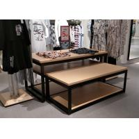 China 2 Layer Retail Clothing Display Shelves Wood Nesting Table MDF + Oak Veneer on sale