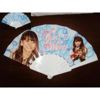 Quality 23cm Promotional hand fan , with plastic frame and paper both-side printed for sale