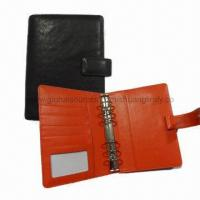 Quality Leather Notebook with Black Outside and Orange Inside, 6 Rings for sale