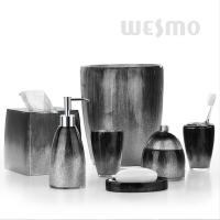 Quality Mixture Of Grey, Black And Silver Powders High-end Polyresin Bathroom Set (WBP0346A) for sale