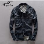 Quality Plain Dark Blue Washed Denim Shirt Anti Pilling Featuring Denim Fabric Type for sale