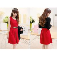 Customized Round neck short Womens Suit Dress Long Sleeve , Red / Black