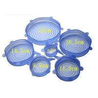 Quality 6 Pieces Silicone Lid Covers , Reusable Silicone Stretch Lids For Stove / Freezer for sale