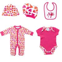 China Spring Knitted Printed 5 Pieces Baby Born Clothes Set For Gift , Custom Made on sale