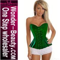 Quality Green Corset With Ruffled Thongs for sale