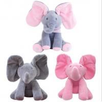 Quality Musical Peek a Boo Elephant Play Hide And Seek Electric Baby Cuddle Plush Toys for sale