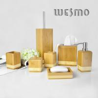 Quality 7 Piece Smooth Square Shaped Water Bamboo Bathroom Sets and Accessories for sale