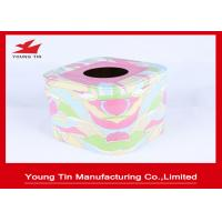 China Empty Square Metal Tins With CMYK Printing , Tinplate Material Type Tissue Paper Holder on sale