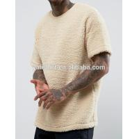 Quality Plus Size Dropped Shoulder Sherpa T Shirt O Neck Plain Dyed Anti Wrinkle for sale