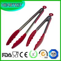 Quality Kitchen and Barbecue Grill Tongs Silicone BBQ Cooking Stainless Steel Locking Food Tong for sale