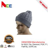 Quality Unique Unisex Fitted Beanie Hats / Grey Mens Winter Beanie Hats 56-60CM for sale