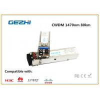 1000BASE - CWDM SMF SFP Fiber Module , 1470nm 80km single mode fiber transceiver Cisco Compatible for sale