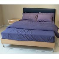 Buy cheap Stable wood frame bed with upholstered headboard and wood slat product