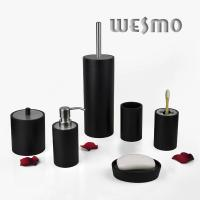 Quality Personalized 6 Piece Black Color Wood Complete Bathroom Set and Accessories for sale