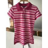 Quality stock clothes for wholesale polo styles slim cutting women's short sleeve color stripe summer shirts garment inventory for sale