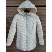China White Womens Lightweight Quilted Padded Jacket With Fix Hoody And Fur Lining on sale