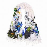 Quality Long Acrylic Scarf, Sunflower Printing/Fashionable Design/Various Uses, Customized Colors Accepted for sale