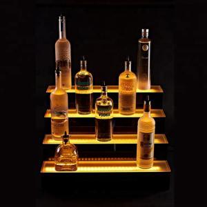 Quality Transparent Led Bottle Display 3 Tier Step Led Wine Stand Led Light Bottle Holder for sale