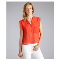 Quality Red Chiffon Sleeveless Ladies Tops And Blouses With Button For Summer for sale