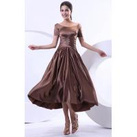 China Popular Trend Satin Sequins Bride Mothers Dresses with Short Sleeve for Wedding Party on sale