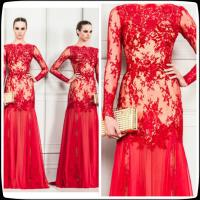 China Red Zuhair Murad Long Evening Party Dresses Lace Chiffon Prom Party Gowns Sleeves on sale