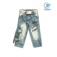 Quality Cutely High Waist Cotton Denim Toddlers Skinny Jeans With Button For Boy for sale